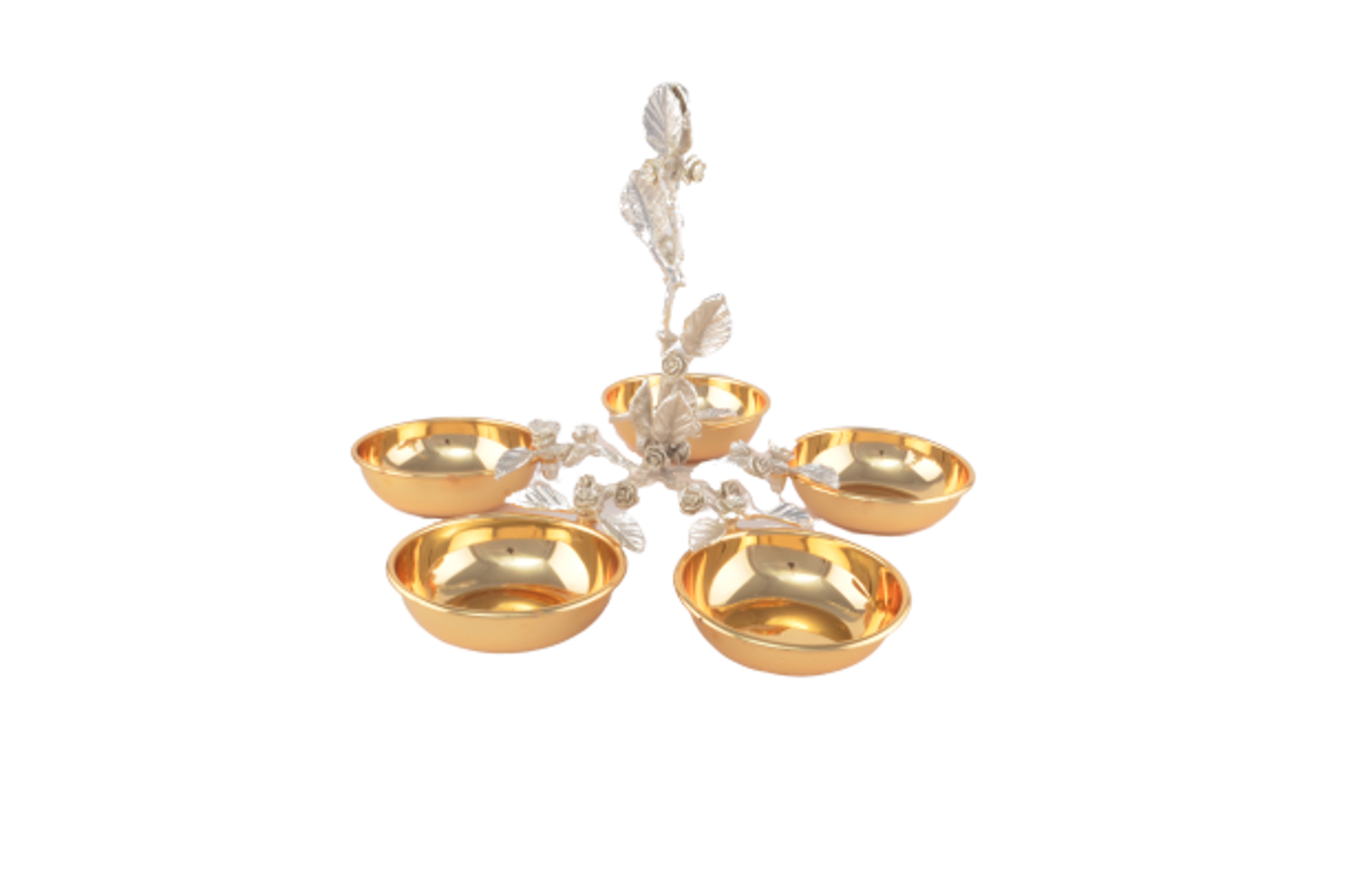 MEVLANA QUINATE BOWL WITH LEAVES GOLD-SILVER resmi