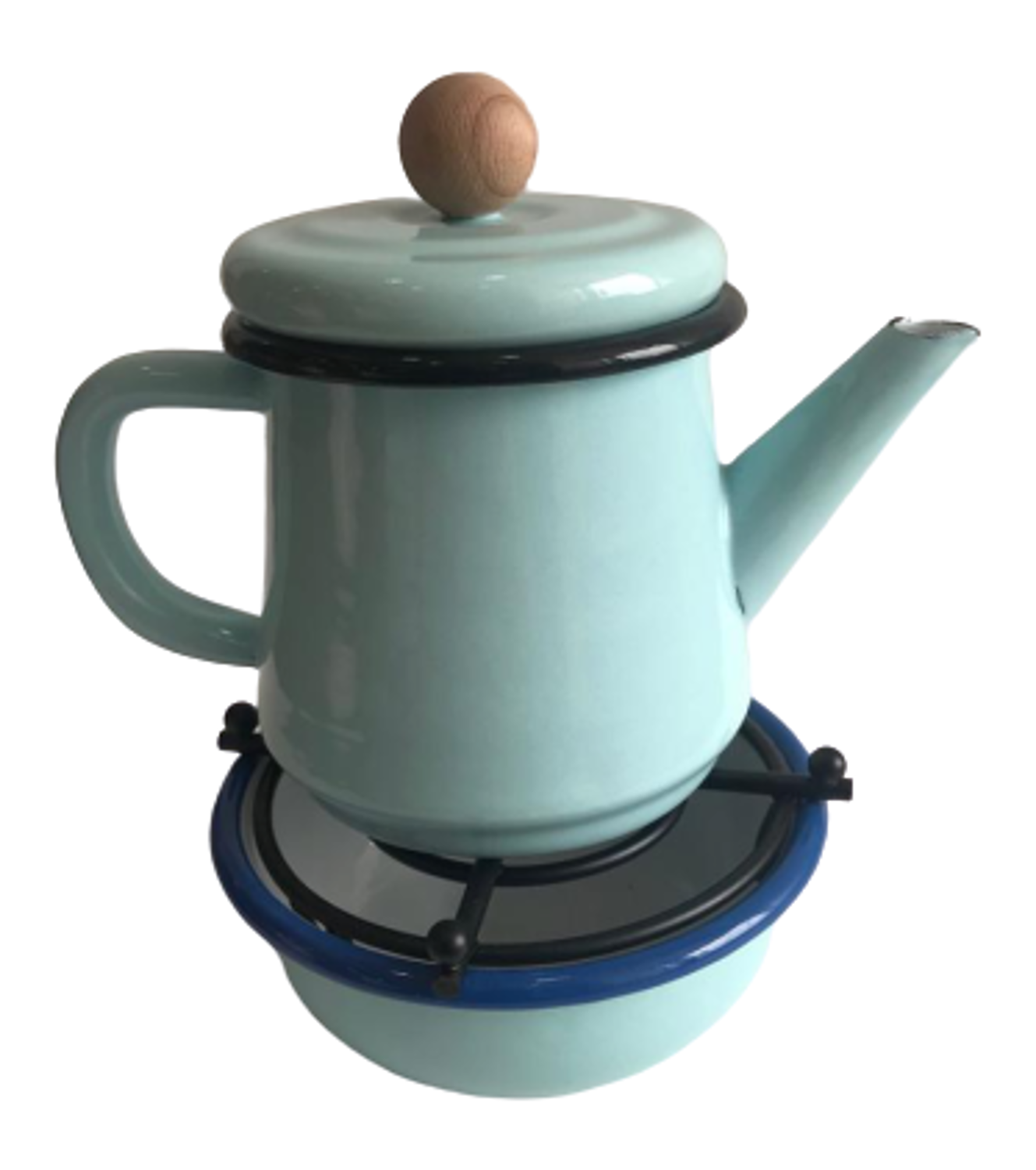 Picture of MEVLANA ENAMEL TEA POT WITH OTTOMAN STOVE - ICE BLUE