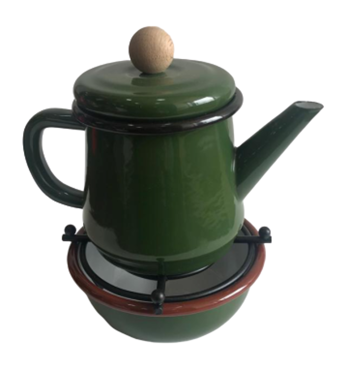 Picture of MEVLANA ENAMEL TEA POT WITH OTTOMAN STOVE - GREEN