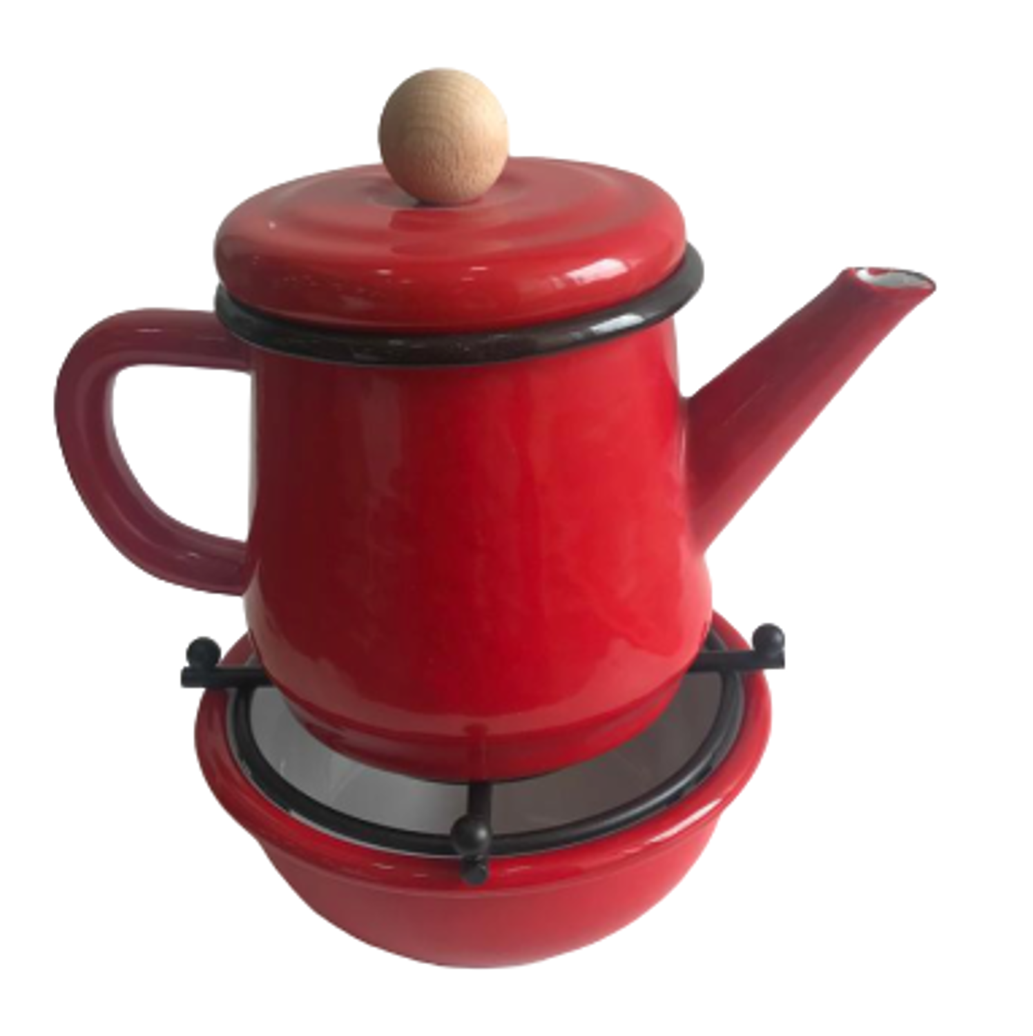 Picture of MEVLANA ENAMEL TEA POT WITH OTTOMAN STOVE - RED
