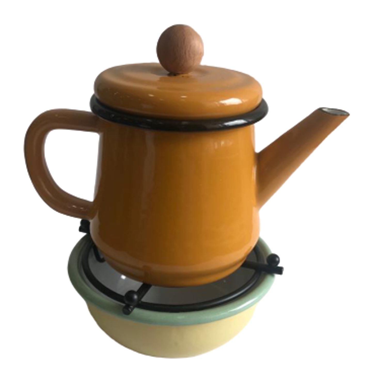 MEVLANA ENAMEL TEA POT WITH OTTOMAN STOVE - KHAKI resmi