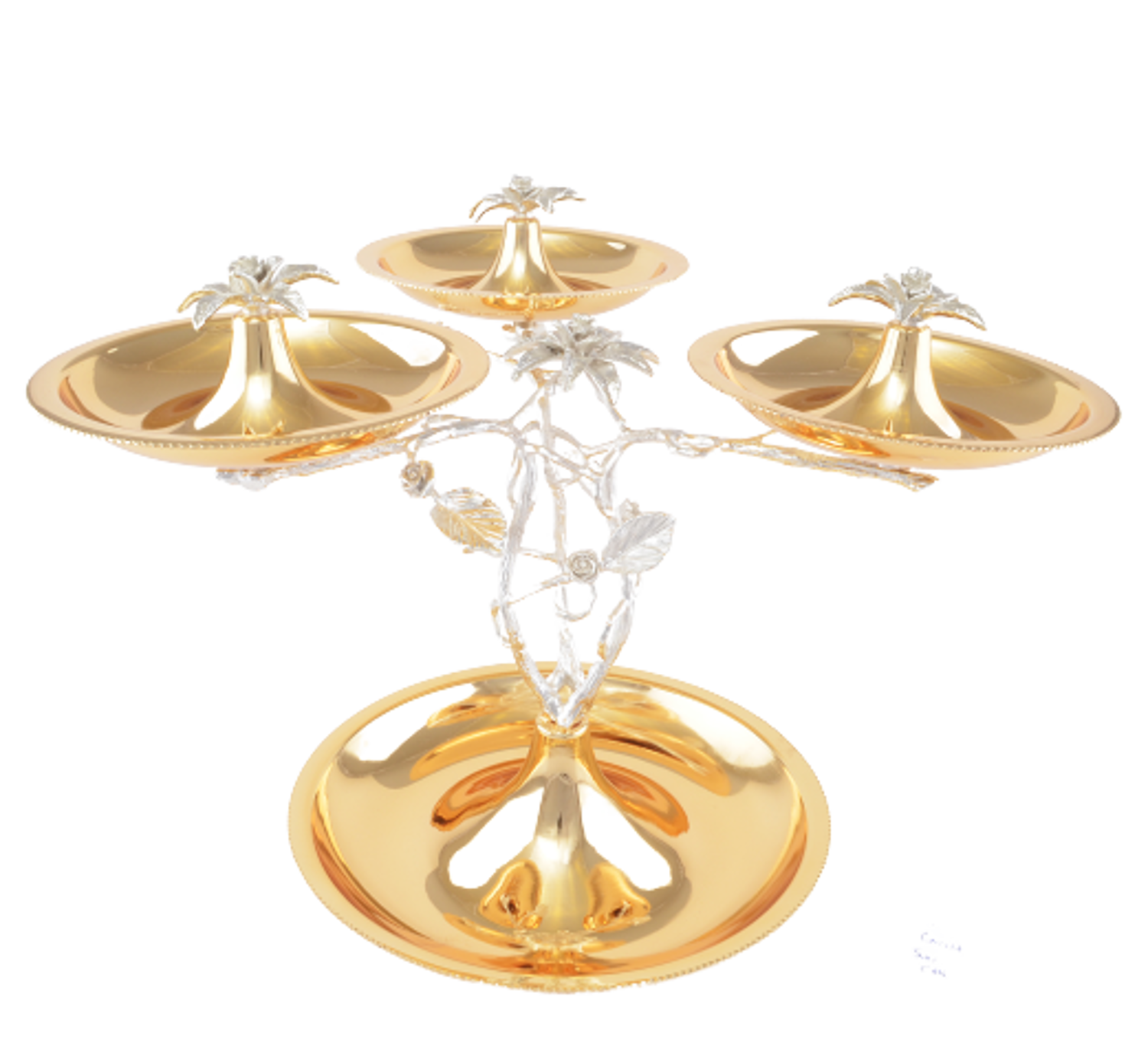 MEVLANA TRIPLE FUNNEL PRESENTATION PLATE GOLD resmi