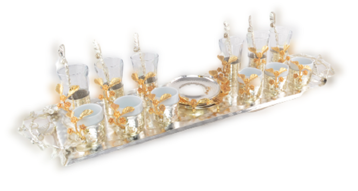 MEVLANA SPEACIAL TEA&TURKISH COFFEE SET SILVER resmi