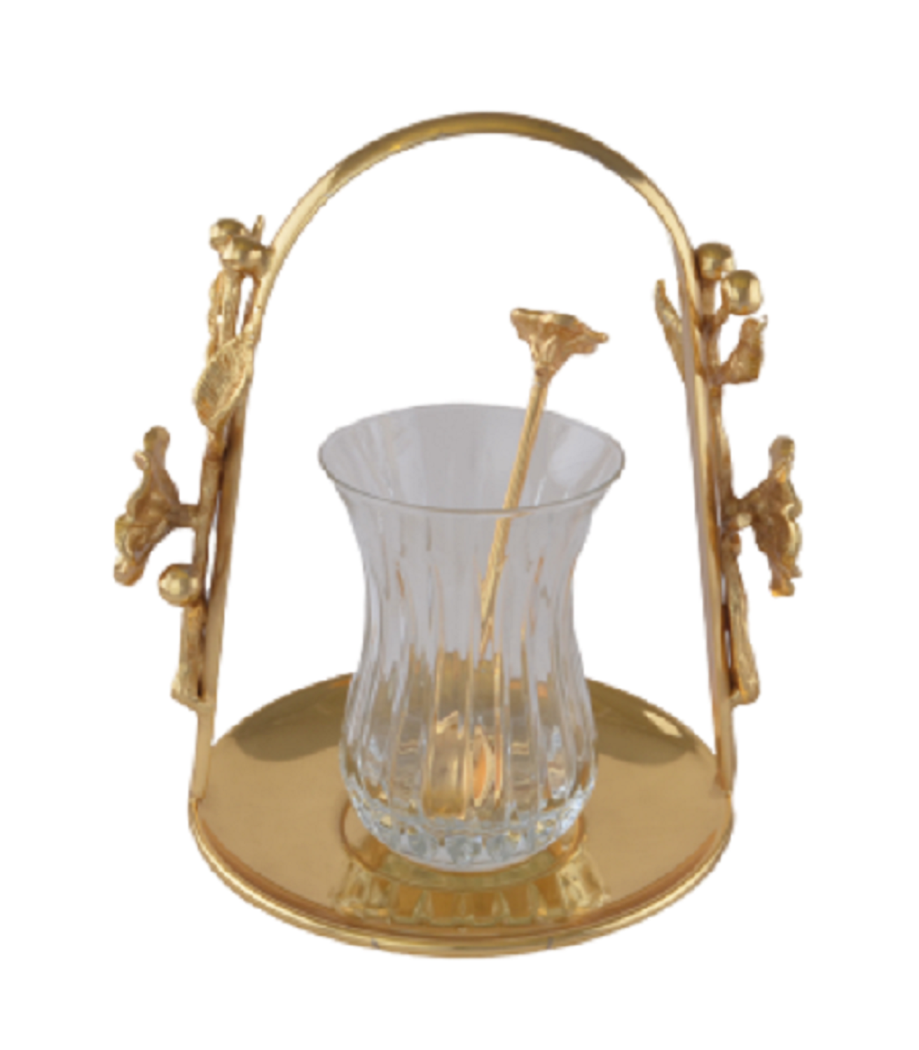 MEVLANA TEA CUP WITH GOLD HANGED TEA PLATE resmi