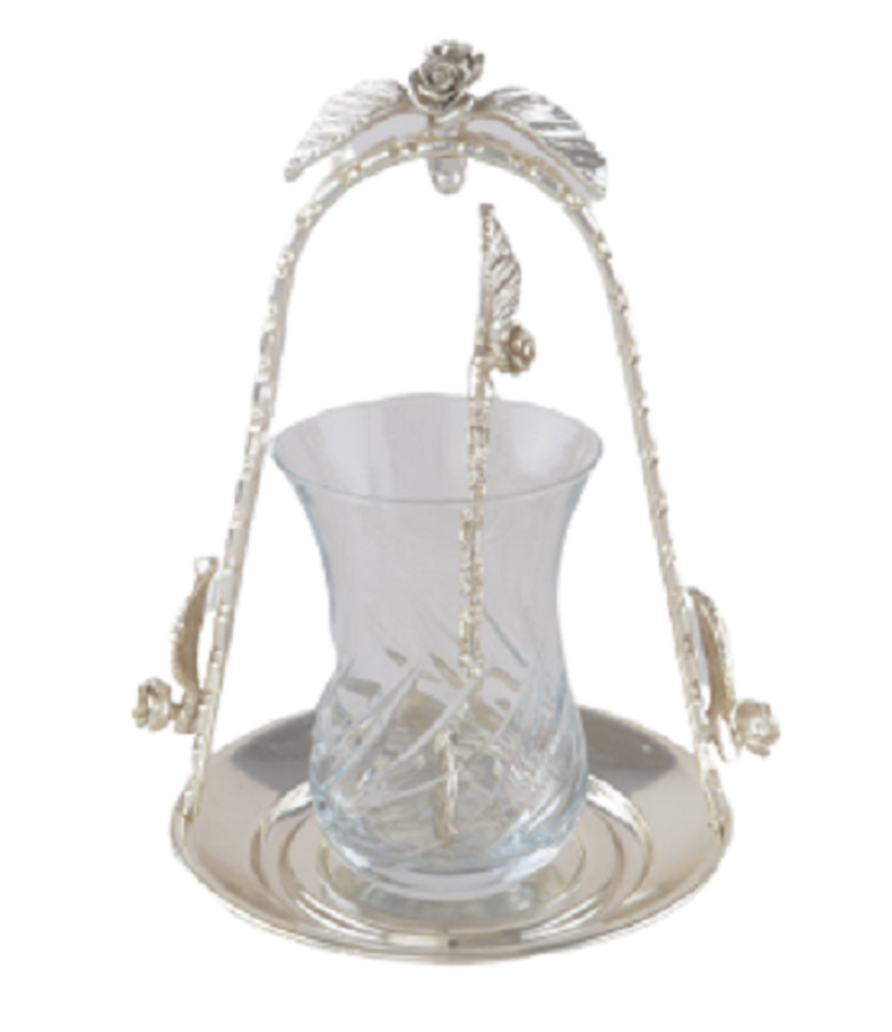 MEVLANA TEA CUP WITH SILVER HANGED TEA PLATE resmi