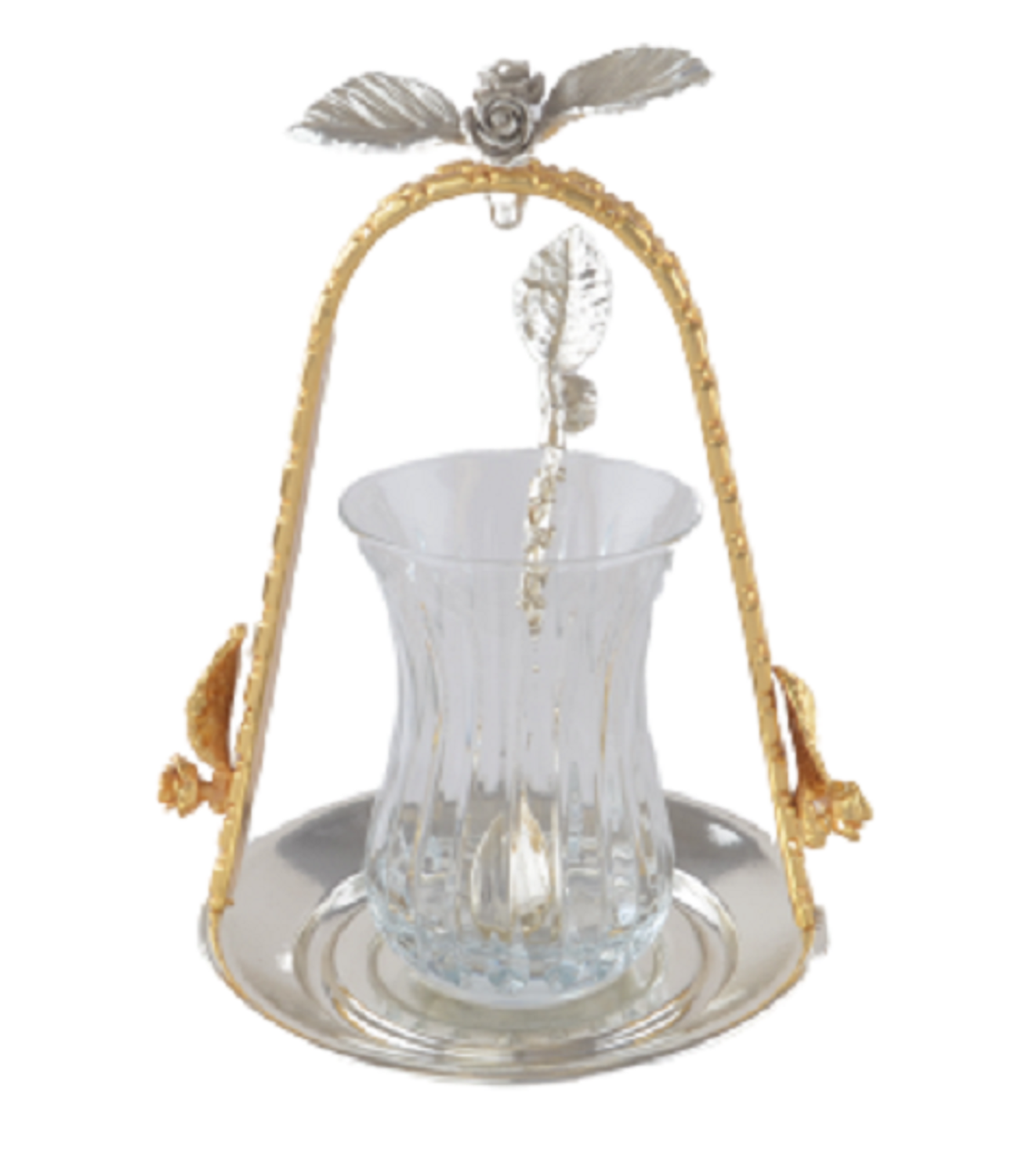 MEVLANA TEA CUP WITH SILVER-GOLD HANGED TEA PLATE resmi